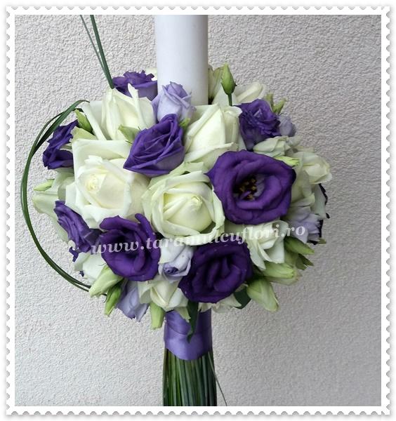 Lumanari de nunta-trandafiri si lisianthus.3657